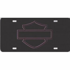 Harley davidson Bar And Shield License Plate Tag Metallic Pink Laser Silhouette