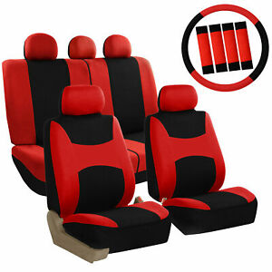 Car Seat Covers Red Set For Auto W Steering Wheel Belt Pad Head Rests