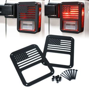 Pair Of Rear Tail Light Cover Guard Us American Flag For 07 18 Jeep Wrangler Jk