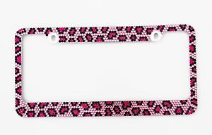 Crystal Pink Leopard Cheetah Diamond Bling Rhinestone Metal License Plate Frame
