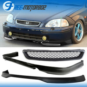 For 96 98 Honda Civic 2 4dr Type R Pp Front Pu Rear Bumper Lip Abs Hood Grille