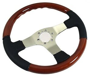1968 1982 Corvette C3 Black Leather Wood Steering Wheel W 3 Chrome Spokes