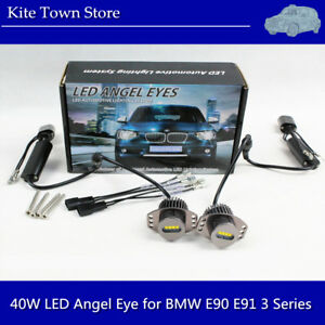 2x 40w High Power Angel Eye E90 E91 3 Series Led Lights Ring Bulbs White For Bmw