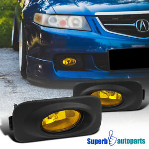 2004 2005 Acura Tsx Jdm Yellow Amber Front Fog Bumper Lights With Switch Bulbs