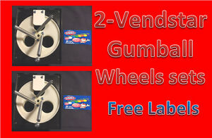2 Pack Vendstar Vending Machine 1 Gumball Wheel Sets With Free Labels