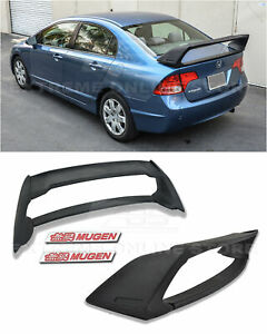 For 06 11 Civic Sedan Mugen Rr Style Abs Plastic Rear Spoiler W 2x Red Emblem
