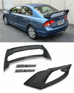 Mugen Rr Style Abs Plastic Rear Spoiler W Black Emblems For 06 11 Civic Sedan