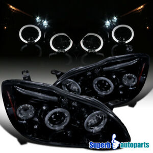 For 2003 2008 Corolla Smoke Led Halo Projector Head Lights Lamps Glossy Black
