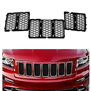 For Jeep Grand Cherokee 2014 2016 Black Front Insert Honey Comb Mesh Grille Trim