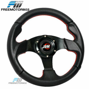Universal 280mm Jdm Black With Red Stitch Pvc Leather Steering Wheel 6 Hole