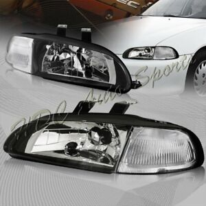 For 1992 1995 Honda Civic 4dr Black Housing 1 piece Headlight W clear Reflector
