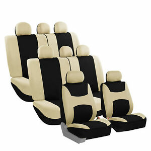 Car Seat Covers For Auto Suv Van Truck 3 Row Beige 14 Pieces