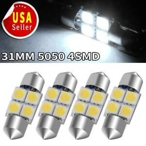 4x Pure White 5050 Festoon 31mm 4smd Interior Led Light Bulb De3175 6428 3022