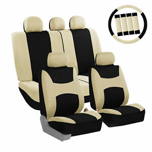 Car Seat Cover Beige Full Set With Steering Wheel Belt Pad 5 Head Rest Covers