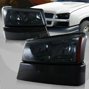 For 2003 2006 Chevy Silverado Avalanche 1500 2500 3500 Smoke Head Lights Lamps