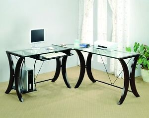 Contemporary Brown Glass Top 3pc Computer Desk Set