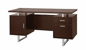 Glavan Contemporary Cappuccino Silver Wood Desk W door Drawers
