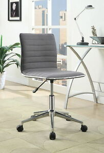Chrome Grey Fabric Metal Office Chair