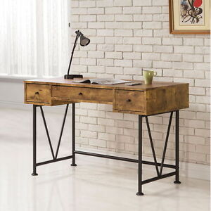 Barritt Antique Nutmeg Wood Metal Desk W euro Glide Drawers