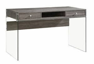 Contemporary Weathered Grey Wood Glass Computer Desk
