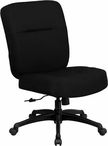 Big Tall Black Fabric Office Chair W arms Extra Wide Seat
