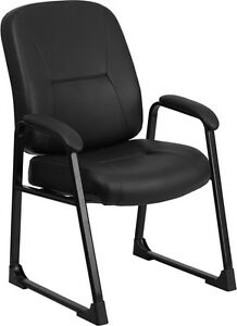 Big Tall Black Leather Executive Side Chair W sled Base