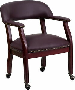 Burgundy Leather Conference Chair W casters