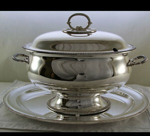 Soup Tureen Cover Oval Platter With French Gadroon Applied Border