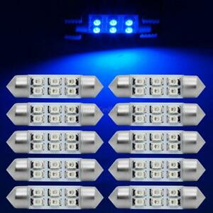 10x Ultra Blue Epistar 6 Smd Led Interior Dome Map Trunk Door Lights Bulbs 6411