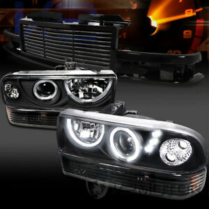 98 04 Chevy S10 Blazer Black Led Projector Headlights Bumper Lamps grille