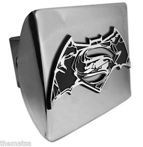 Superman Batman Emblem On Shiny Chrome Metal Usa Made Trailer Hitch Cover