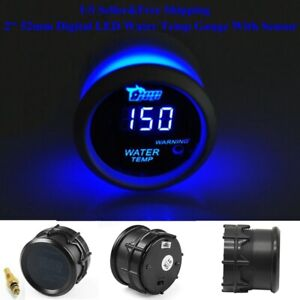 2 52mm Blue Digital Led Water Temp Temperature Gauge With Sensor Car Renovation