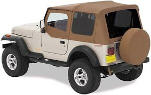 1988 1995 Jeep Wrangler Replacement Soft Top W Upper Door Tinted Window Spice