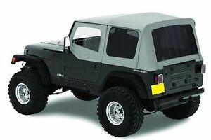 1987 1995 Jeep Wrangler Replacement Soft Top W Upper Doors Tinted Windows Gray