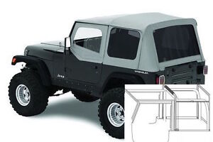 1987 1995 Jeep Wrangler Complete Soft Top Kit With Upper Doors Tinted Windows