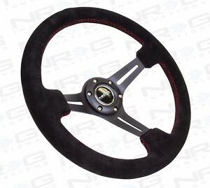 Nrg Deep Dish Steering Wheel 350mm Black Suede With Red Stitching st 018s