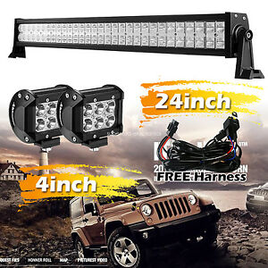 24inch Led Light Bar 4inch Cree Led Work Light Flood Harness Offroad Suv Atv