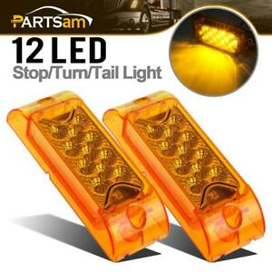2x Amber 13 Led Rectangle Surface Mount Side Marker Park Turn Signal Lights 12v