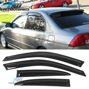 Fits 01 05 Honda Civic 4 Dr Sedan Slim Style Window Visors Acrylic 4pcs Set