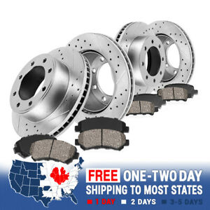 Front Rear Drill Slot Brake Rotors And Ceramic Pads For Dodge Ram 1500 2500 3500