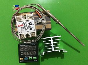 Digital F c Pid Temperature Controller Ta4 snr K type Probe 25a Ssr heat Sink
