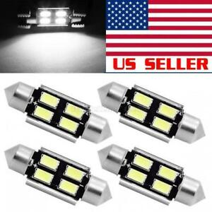 4pcs White 4 Smd Led Map Dome Interior Light Bulbs 36mm Canbus Festoon 6418
