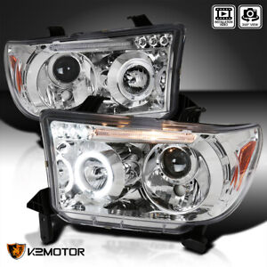 For 2007 2013 Toyota Tundra 08 17 Sequoia Halo Led Projector Headlights Pair