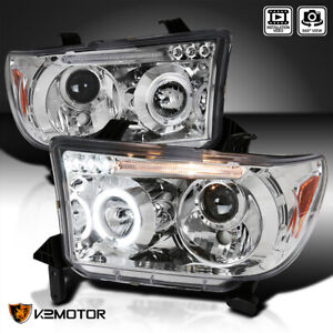 For 2007 2013 Toyota Tundra 08 17 Sequoia Led Halo Projector Headlights Lamp L R
