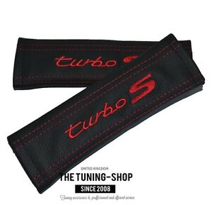 2x Seat Belt Covers Pads Black Leather Embroidery Turbo S Red St For Porsche