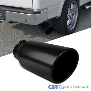 Black Coated Rolled Edge Angle Diesel Exhaust Tip 4 Inlet 6 Outlet 15 Long