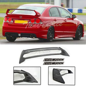 For 06 11 Civic Sedan Mugen Rr Rear Spoiler Fd2 Fa2 W Black Emblems Abs Plastic