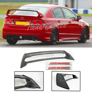 For 06 11 Civic Sedan Mugen Rr Rear Spoiler Fd2 Fa2 W Red Emblems Abs Plastic
