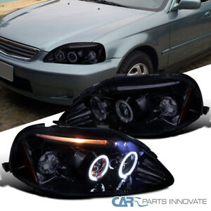 Glossy Black For Honda 99 00 Civic 2 3 4dr Dual Halo Led Projector Headlights