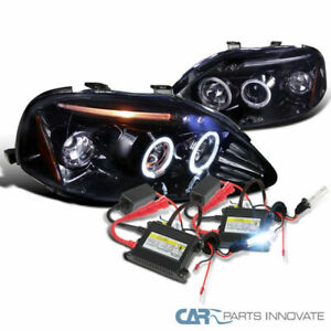 Glossy Black For 99 00 Civic Smoke Halo Led Projector Headlight H1 6000k Hid Kit
